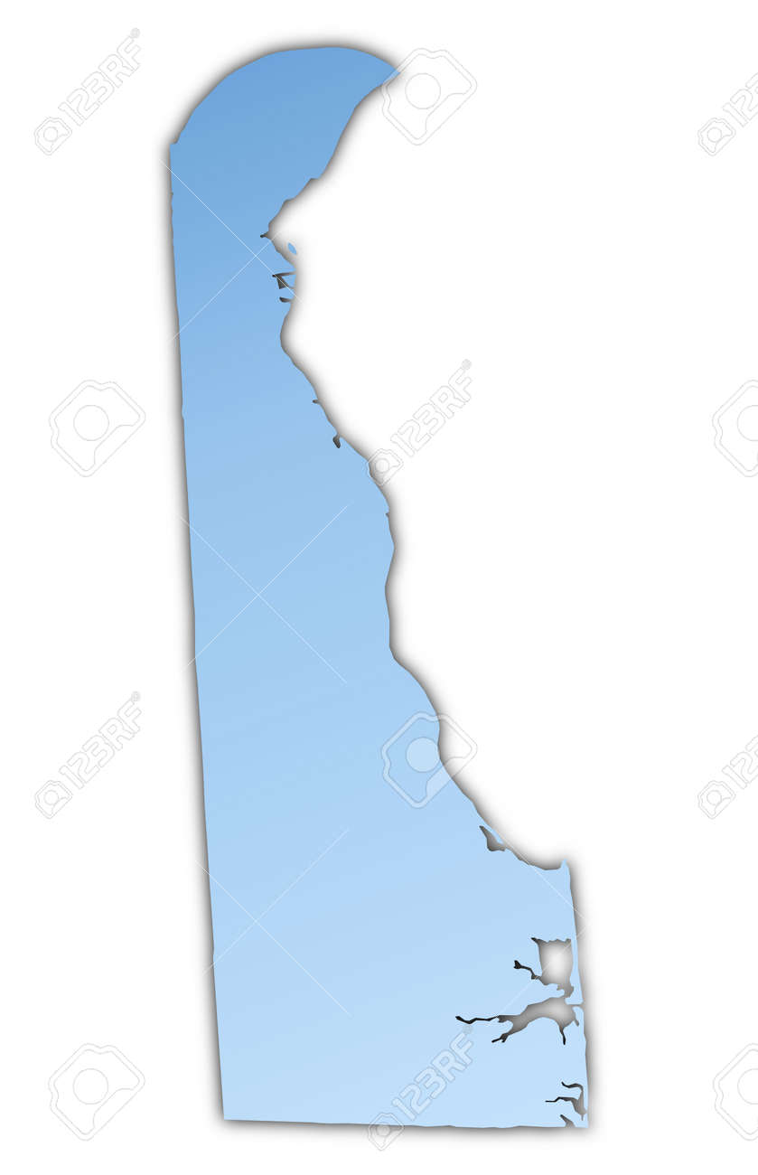 DelawareUSA Map Light Blue Map With Shadow High Resolution - Usa map high resolution