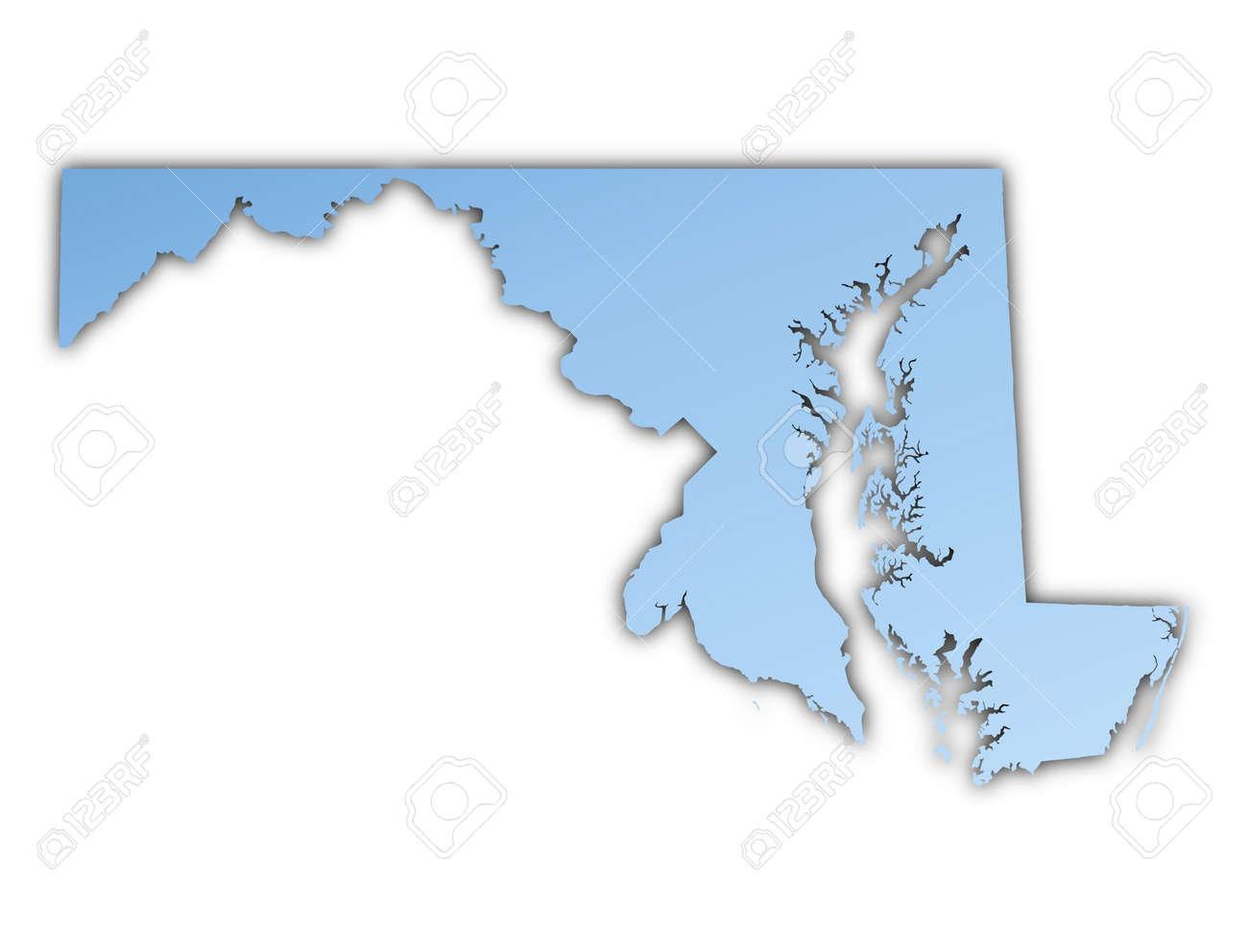 Marylandusa Map Light Blue Map With Shadow High Resolution Maryland Usa Map