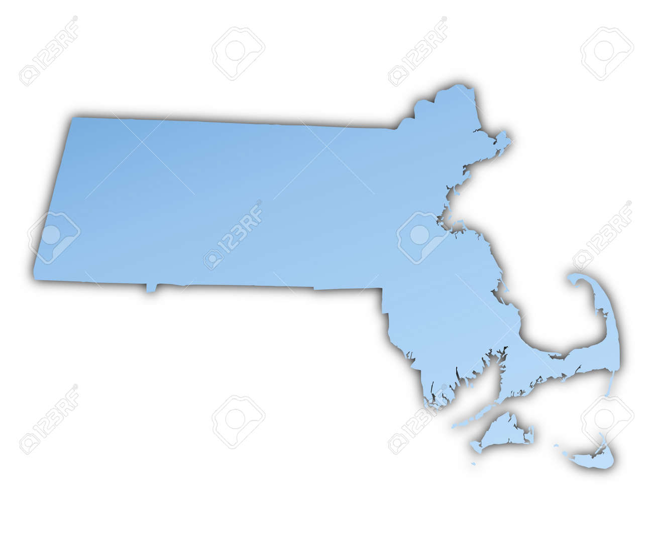 MassachusettsUSA Map Light Blue Map With Shadow High Resolution – Map Usa High Resolution
