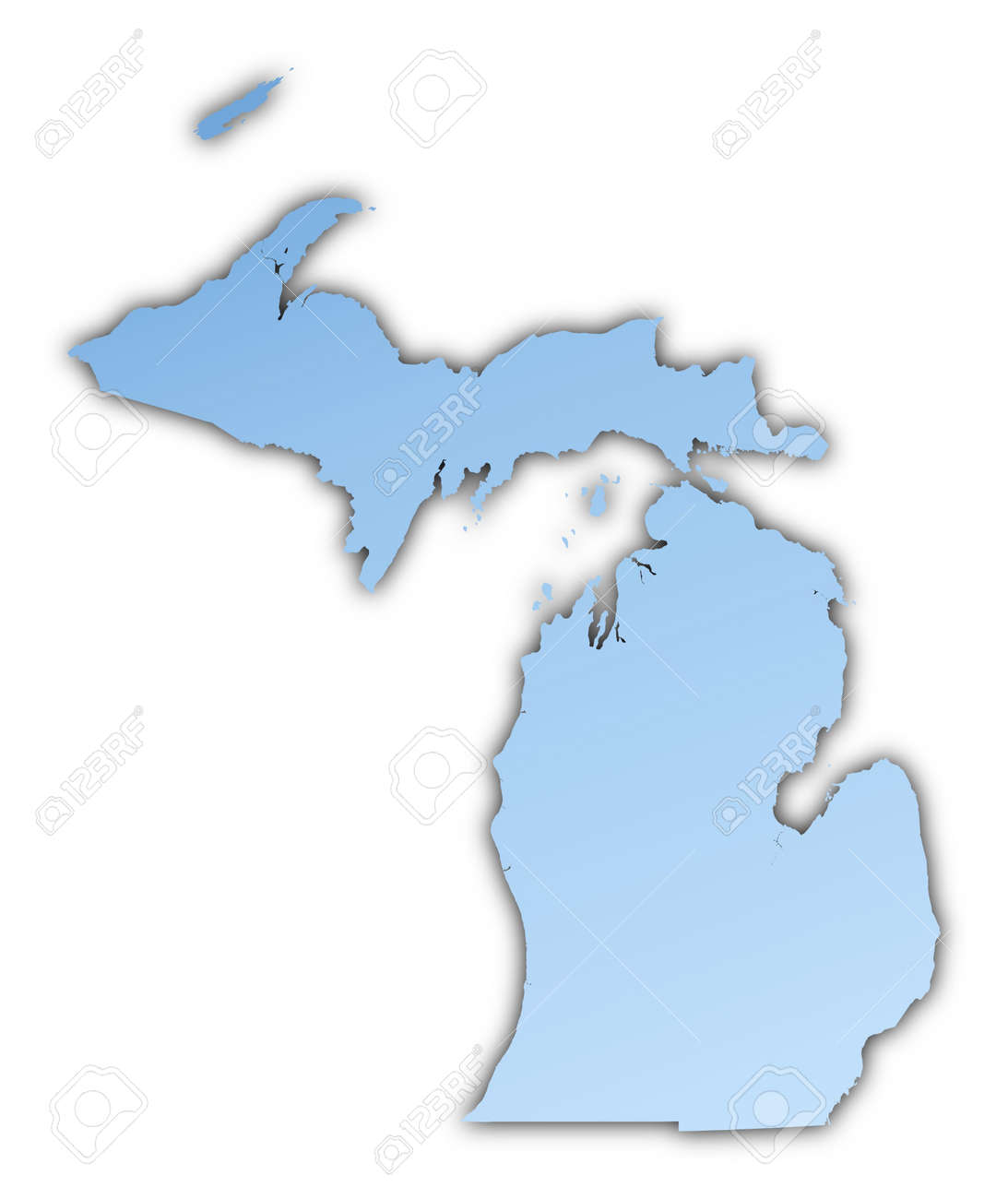 Michigan(USA) map light blue map with shadow. High resolution...