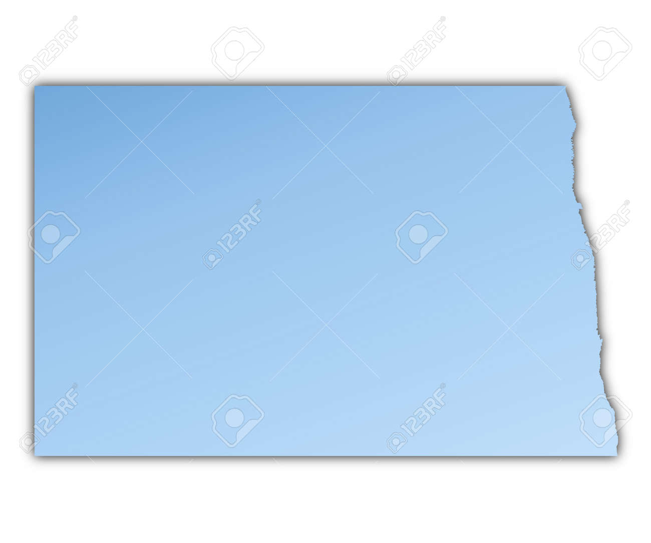 North Dakota(USA) Map Light Blue Map With Shadow. High Resolution ...