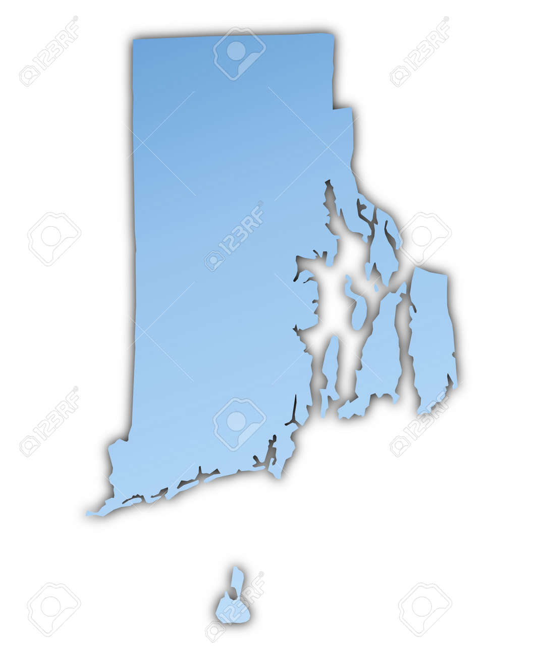 Rhode IslandUSA Map Light Blue Map With Shadow High Resolution - Usa map rhode island