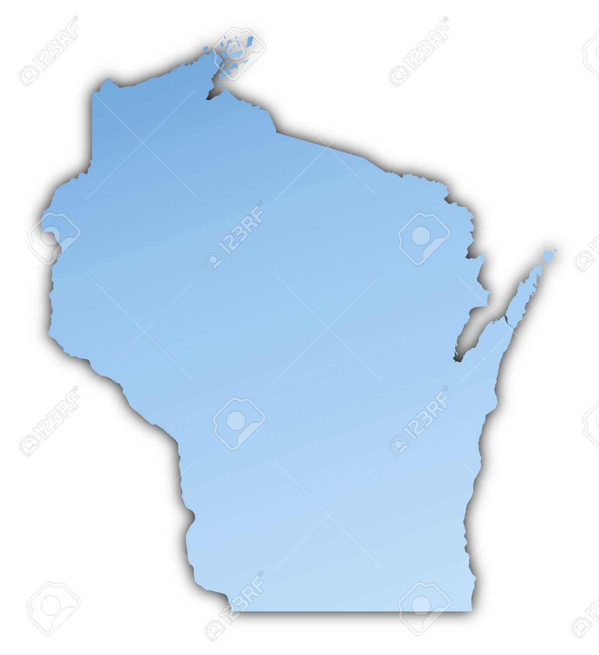 WisconsinUSA Map Light Blue Map With Shadow High Resolution - Free high resolution us map
