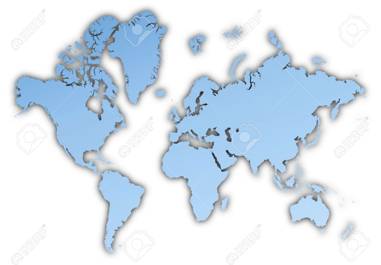 World Map Light Blue Map With Shadow High Resolution Mercator – Map World High Resolution