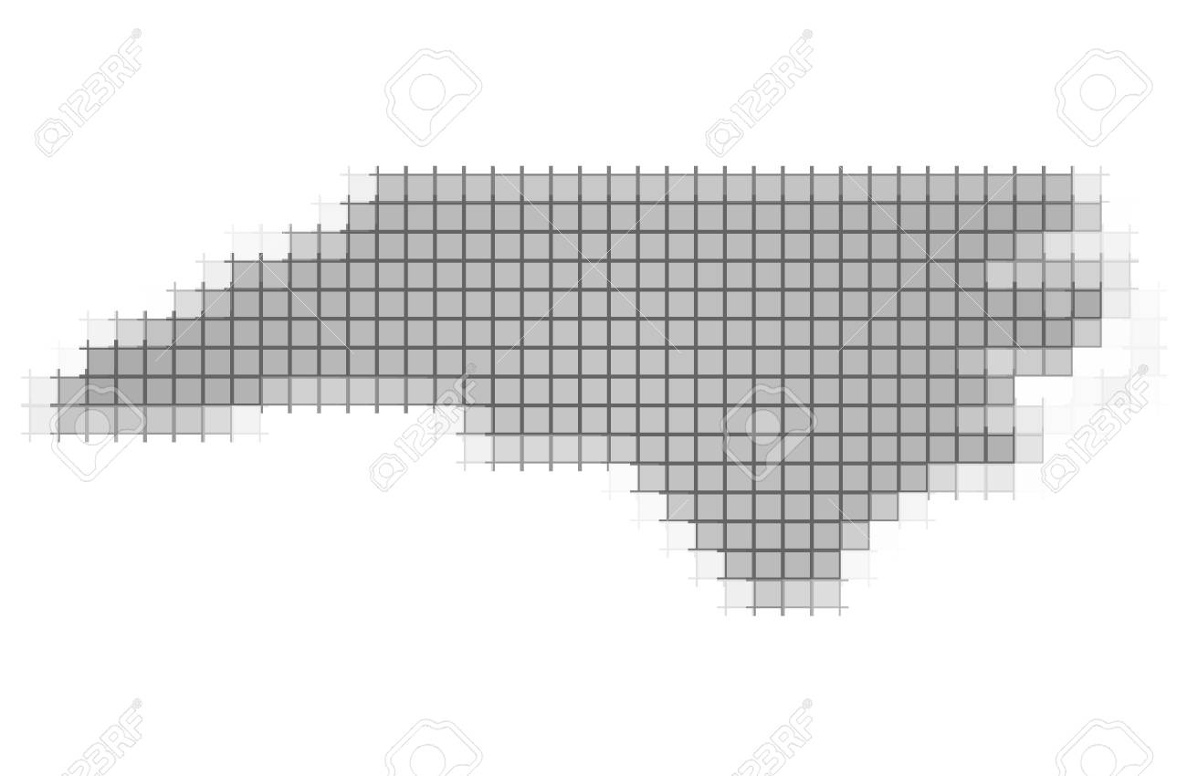 North Carolina (USA) Map Pixels Mosaic. Easy To Recolor. Stock Photo ...