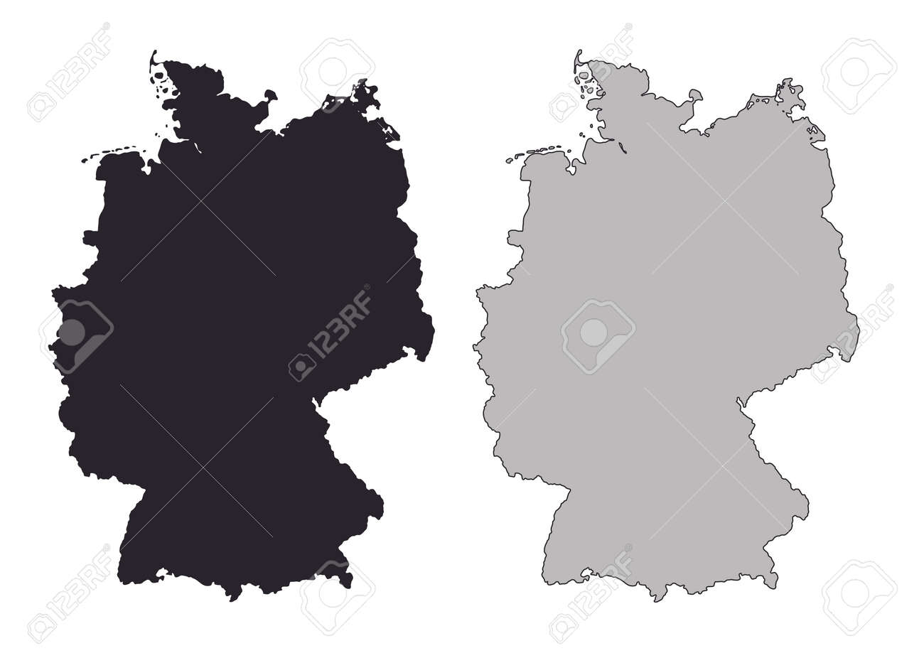 Germany Map Black And White Mercator Projection Royalty Free - Germany map shape
