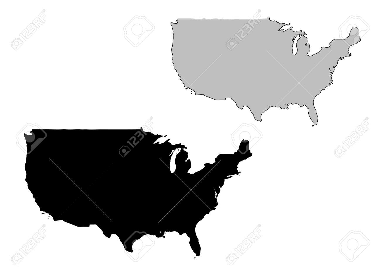 united states map black and white mercator projection stock vector 4780409