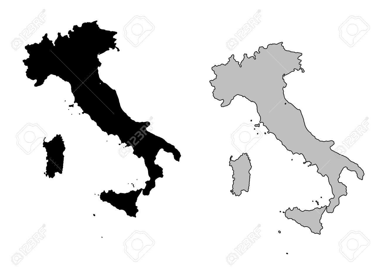 Black And White Map Of Italy.Italy Map Black And White Mercator Projection
