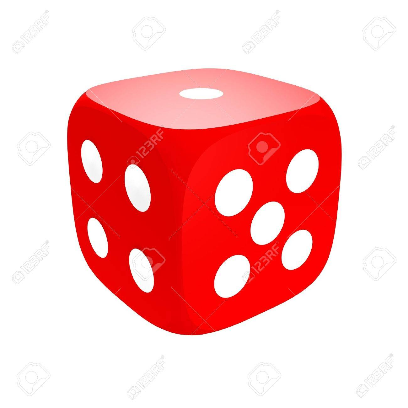 Red dice isolated on white. 3d rendered illustration. Stock Illustration - 4820820