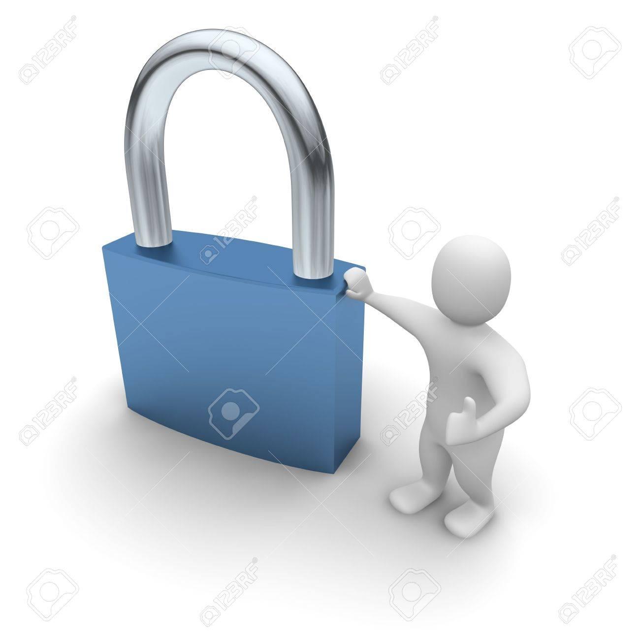 Man lean on padlock. 3d rendered illustration. Stock Illustration - 4835386