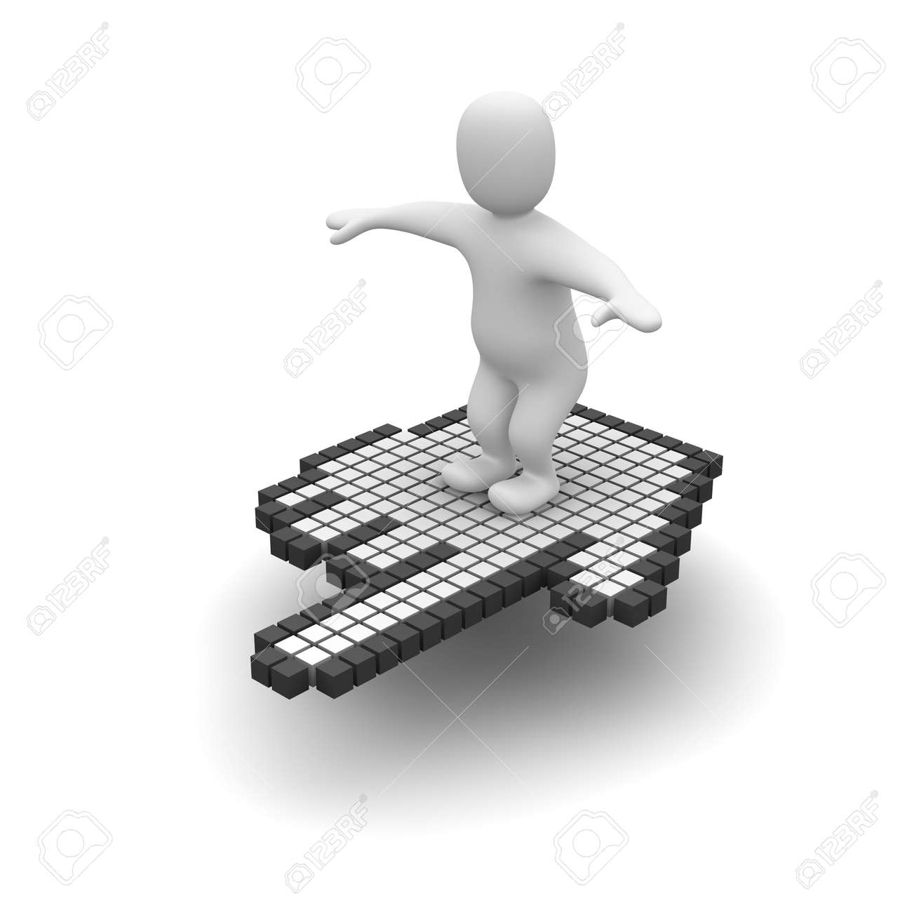 Man flying on computer mouse cursor. 3d rendered illustration. Stock Photo - 4835392