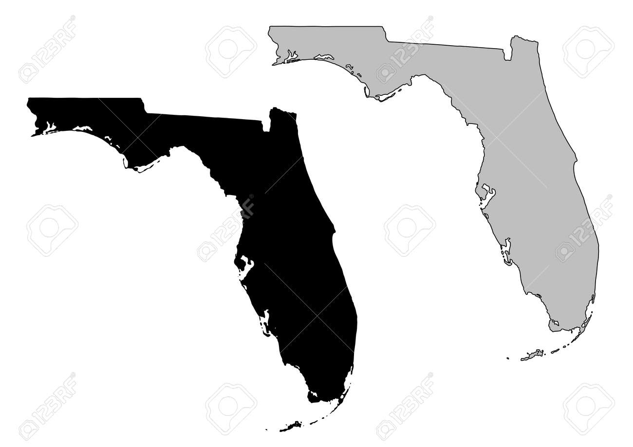 Florida Map. Black And White. Mercator Projection. Royalty Free