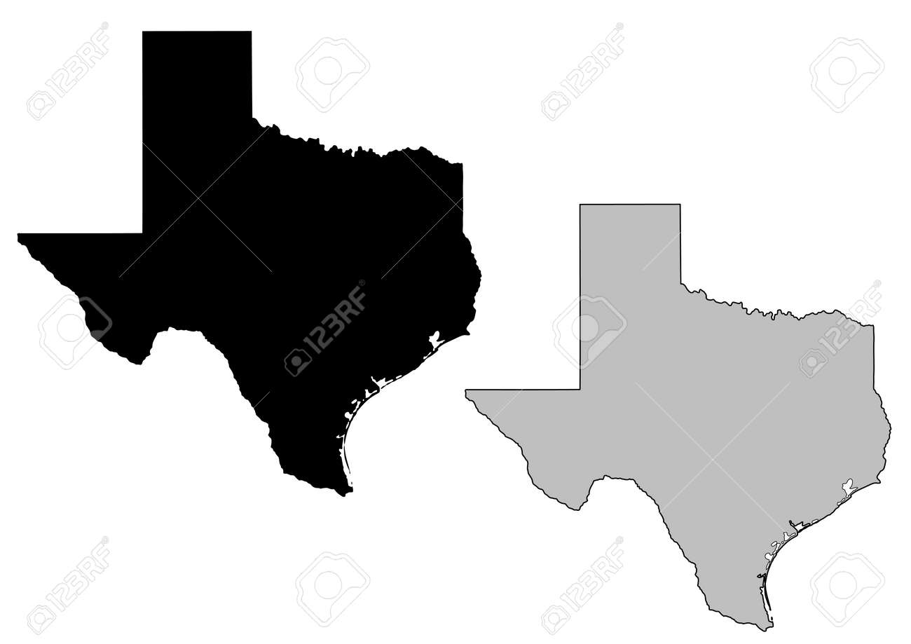 Texas Map Black And White Texas Map. Black And White. Mercator Projection. Royalty Free