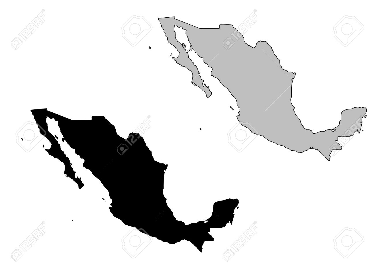 Mexico map  Black and white  Mexico Country Vector