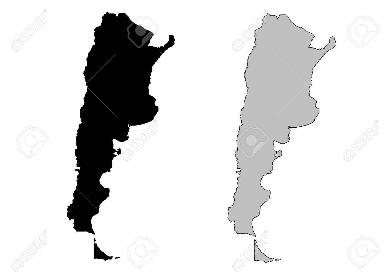 Argentina Map Black And White Mercator Projection Royalty Free - Argentina map vector