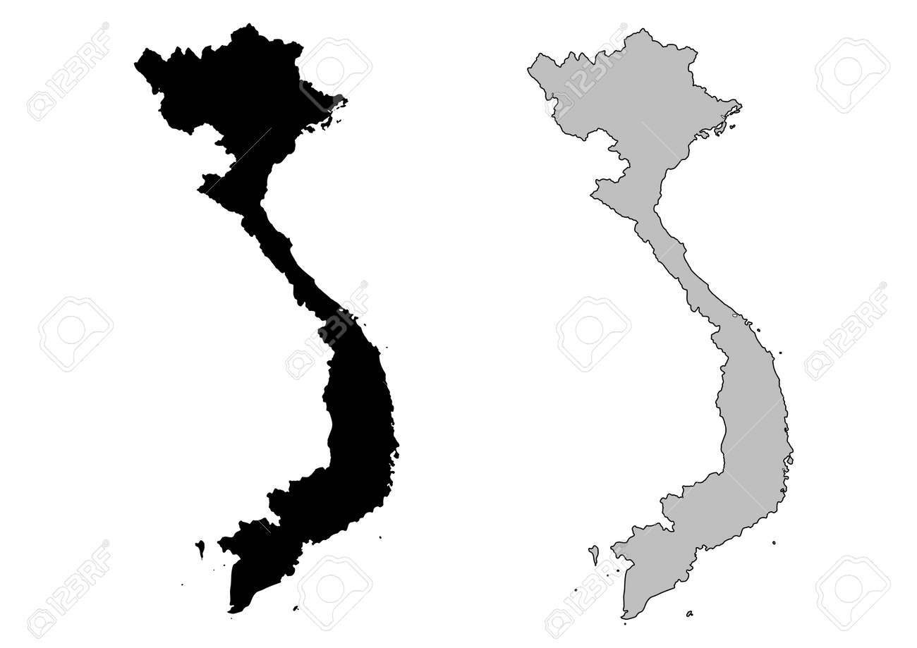 Vietnam Map. Black And White. Mercator Projection. Royalty Free