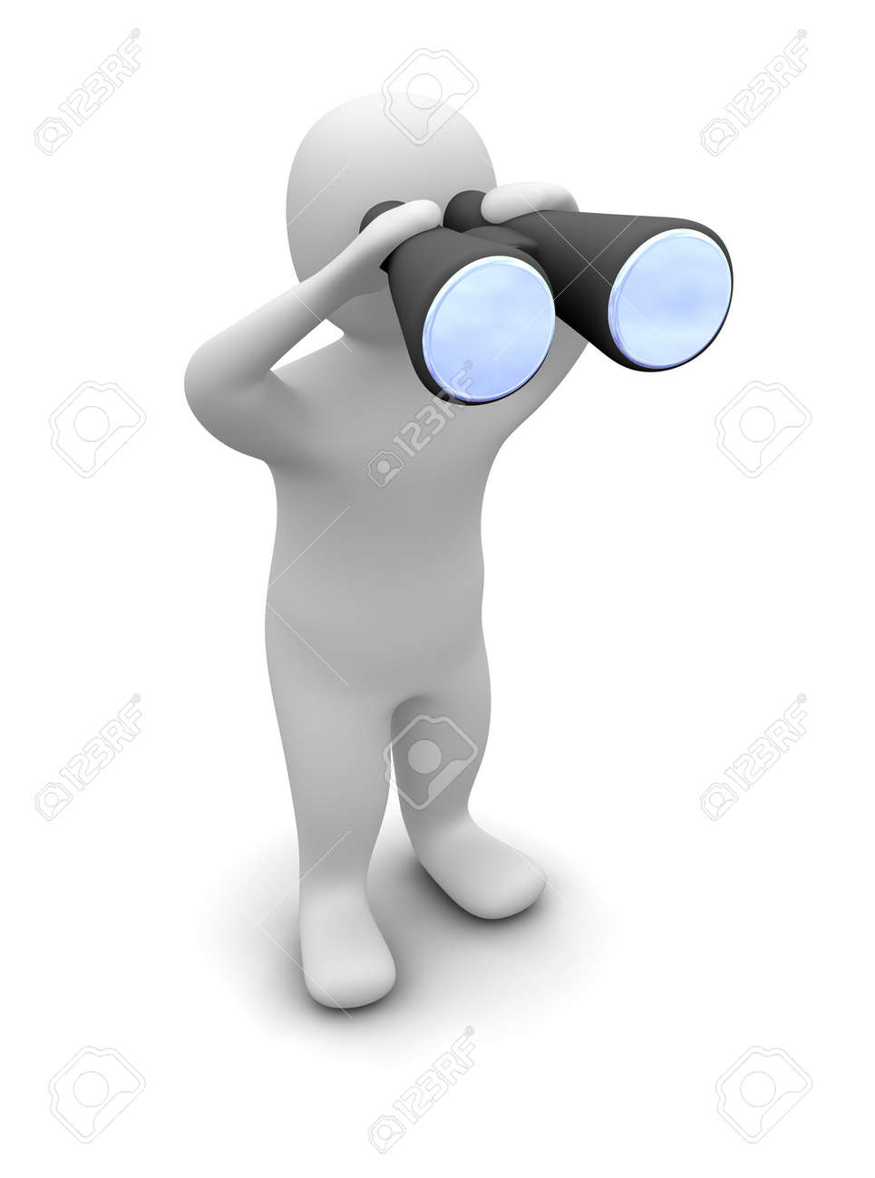 Man looking through binoculars. 3d rendered illustration. Stock Photo - 4946242