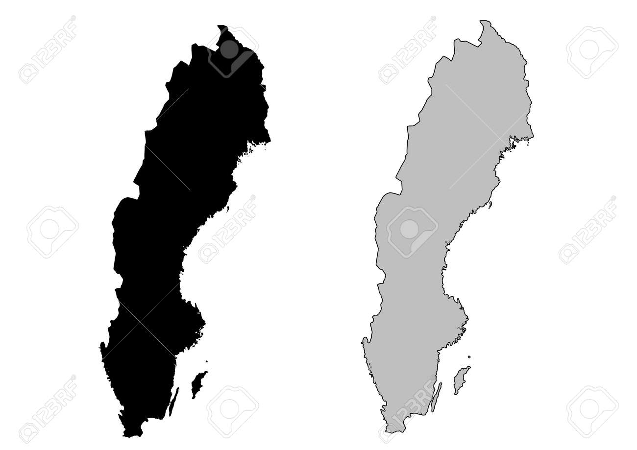 Sweden Map Black And White Mercator Projection Royalty Free - Sweden map free