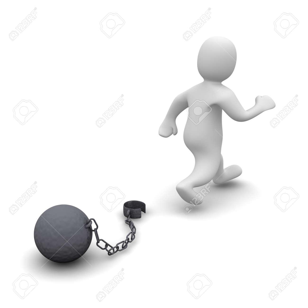 Escaping criminal. 3d rendered illustration isolated on white. Stock Illustration - 5024208