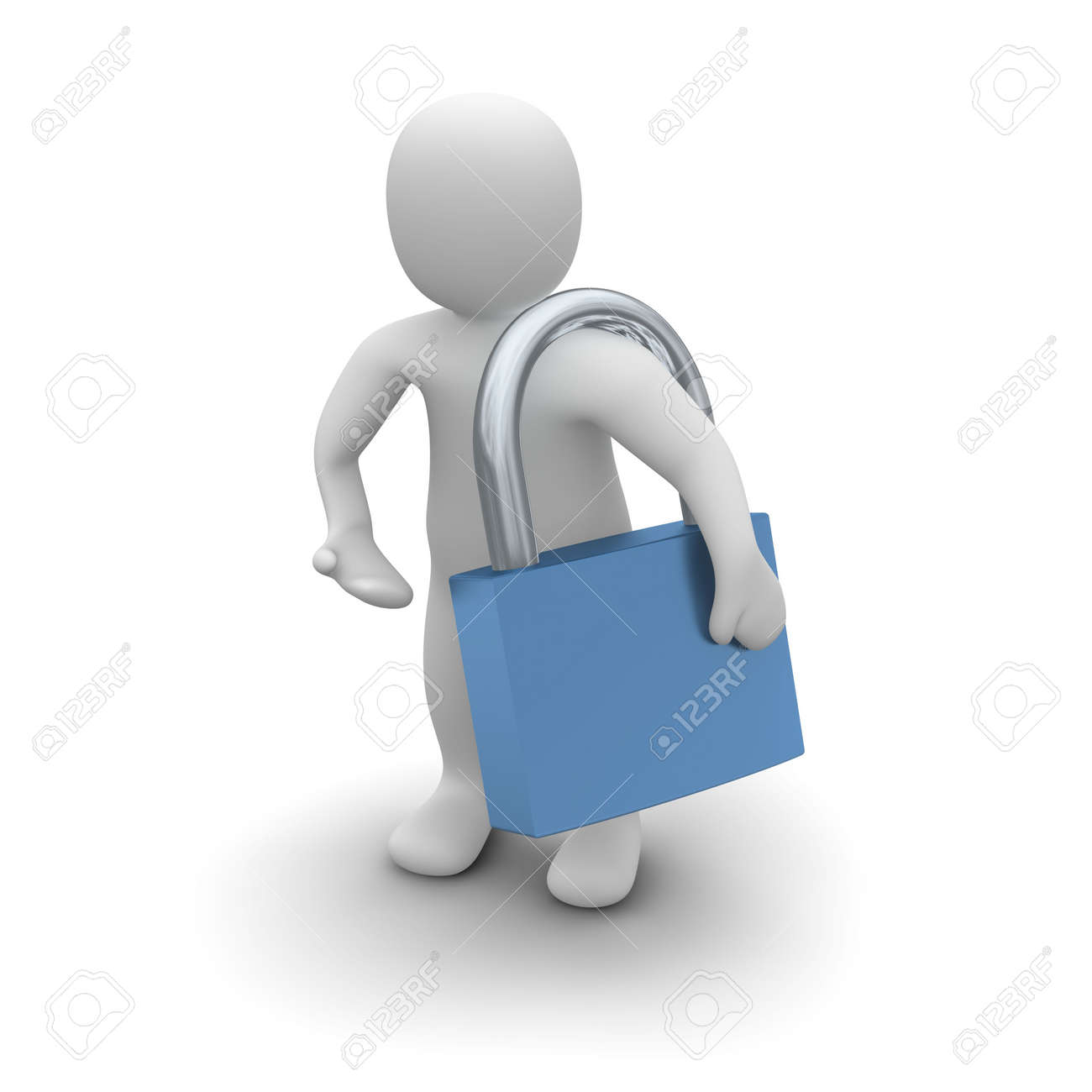 Man with padlock. 3d rendered isolated illustration. Stock Illustration - 5070748