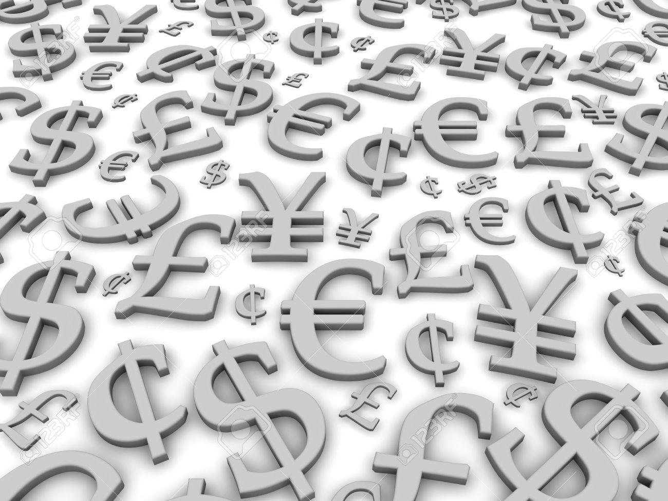 Black and white financial symbols background. 3d rendered illustration Stock Illustration - 5673479