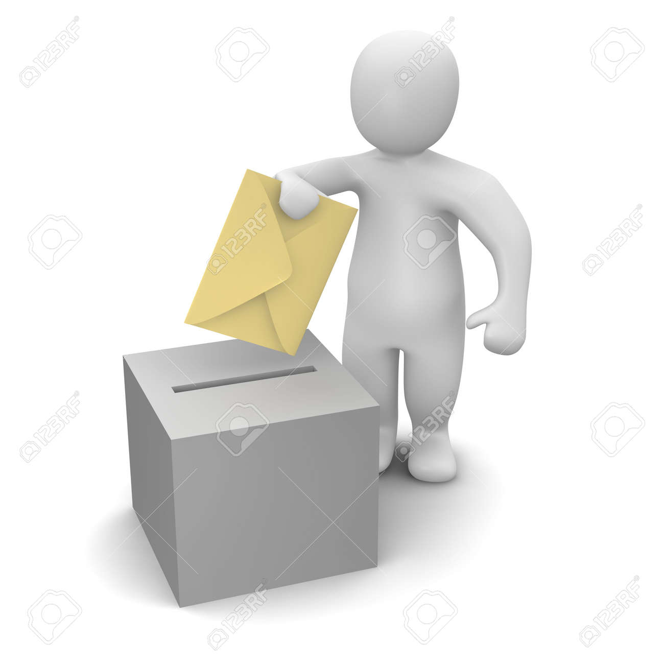 Man Sending Letter Or Vote Concept Stock Photo Picture And Royalty