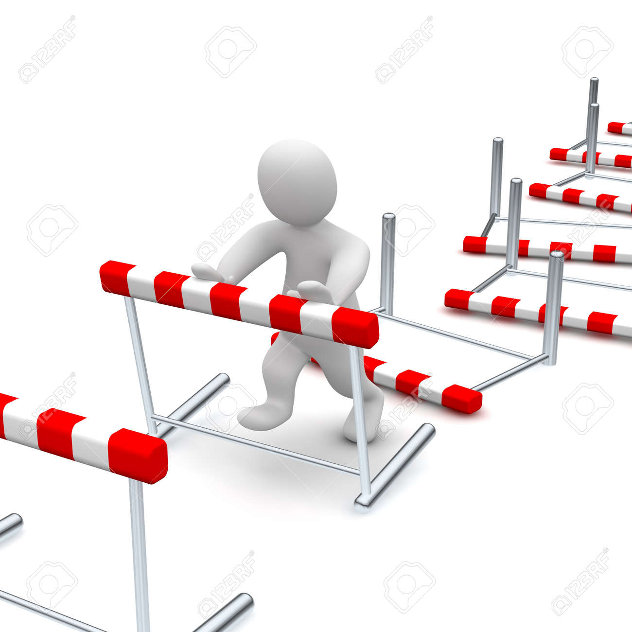 Man overcome or knocking down hurdles. 3d rendered illustration. Stock Photo - 6981476