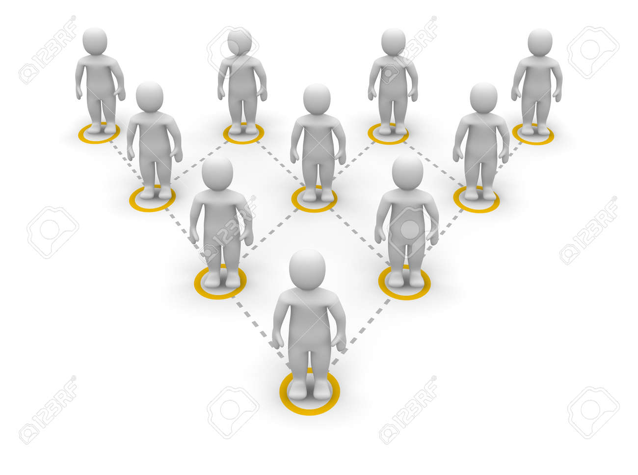 Pyramid team hierarchy. 3d rendered illustration. Stock Photo - 7101839
