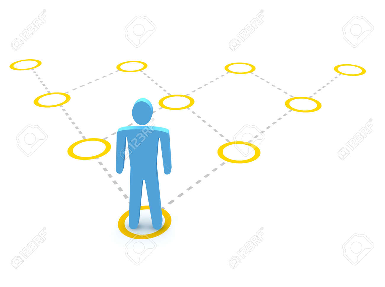 Man and pyramidal diagram. 3d rendered illustration. Stock Photo - 7285502