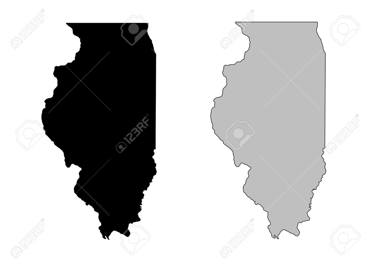 Illinois map. Black and white. Mercator projection. Stock Vector - 7421281