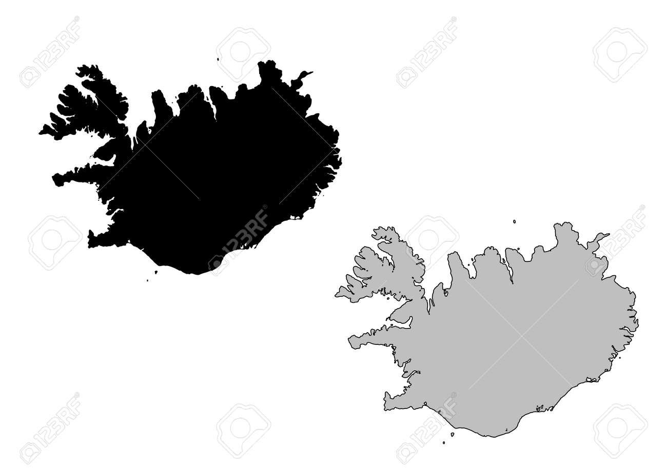 Iceland Map. Black And White. Mercator Projection. Royalty Free ...