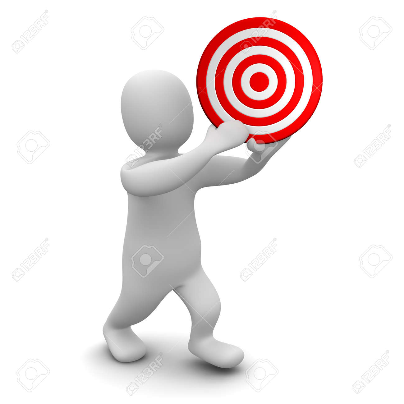 Man holding red target. 3d rendered illustration. Stock Photo - 7473319