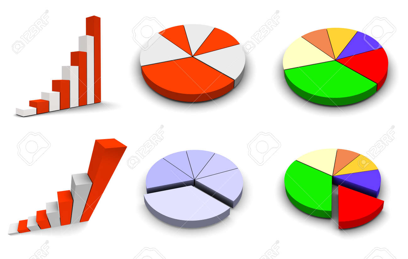 Set of 6 graph icons. 3d rendered. Stock Photo - 7622655