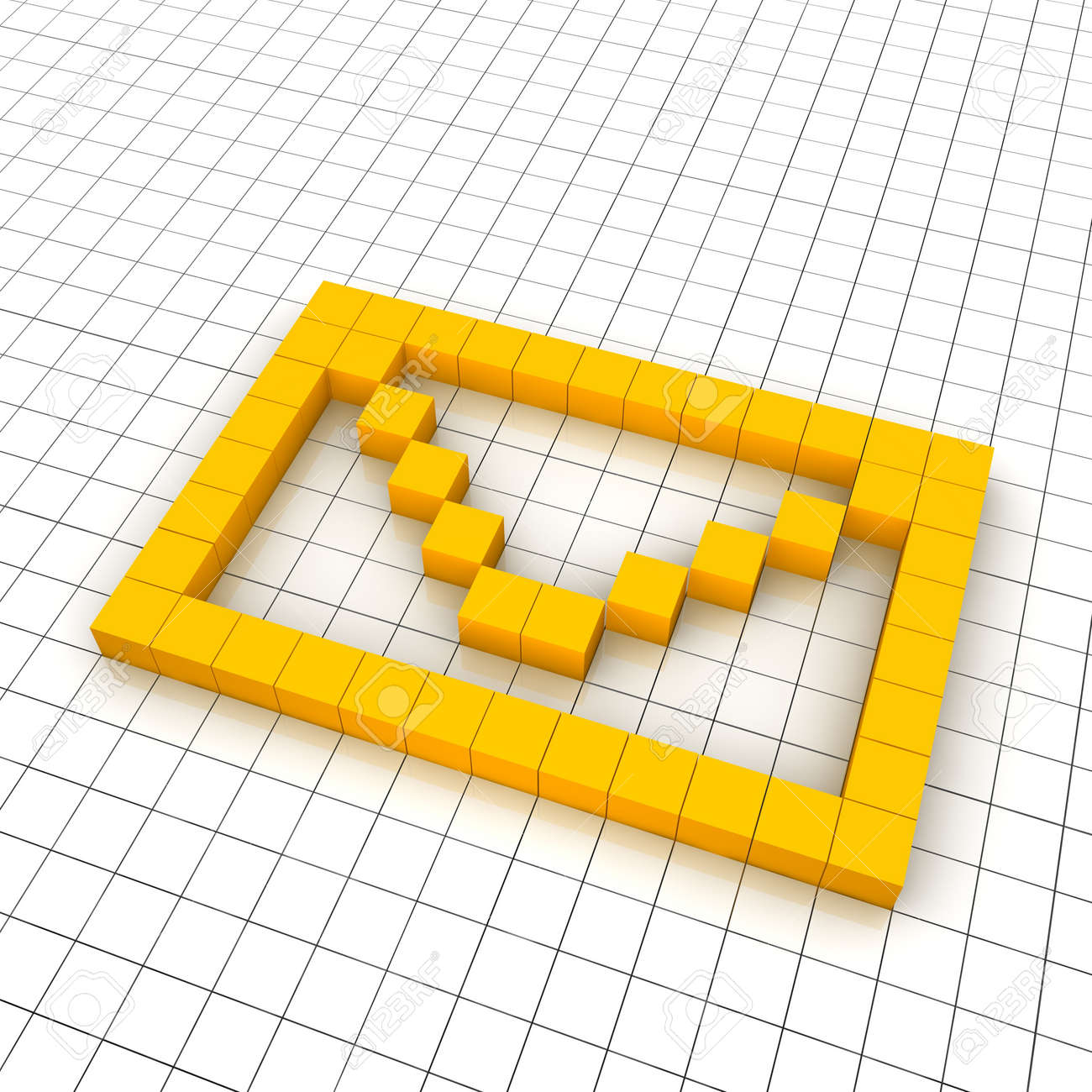 3d mail envelope icon in grid. Rendered illustration. Stock Photo - 7622657