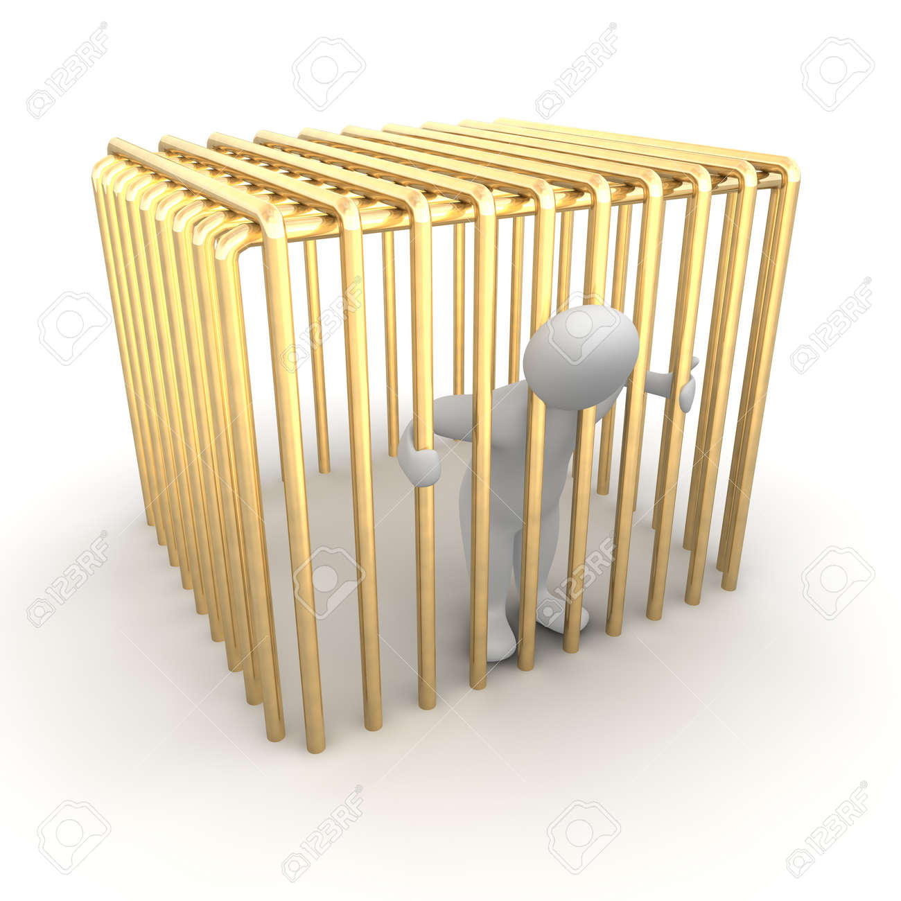 Man jailed in golden cage. 3d rendered illustration. Stock Photo - 7744842
