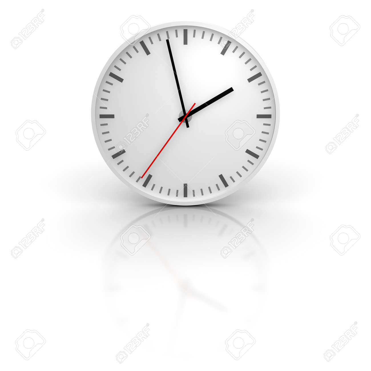 White clock with reflection. 3d rendered illustration. Stock Illustration - 7863032