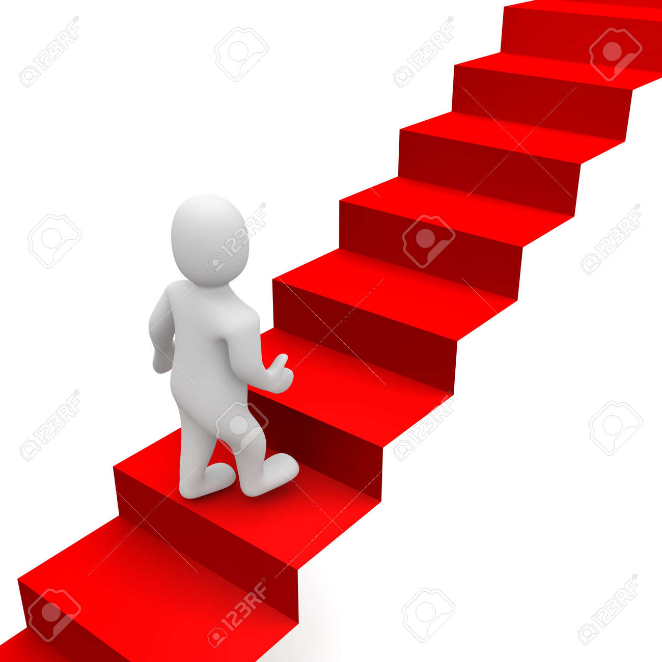 Man and red carpet stairs. 3d rendered illustration. Stock Photo - 7936963