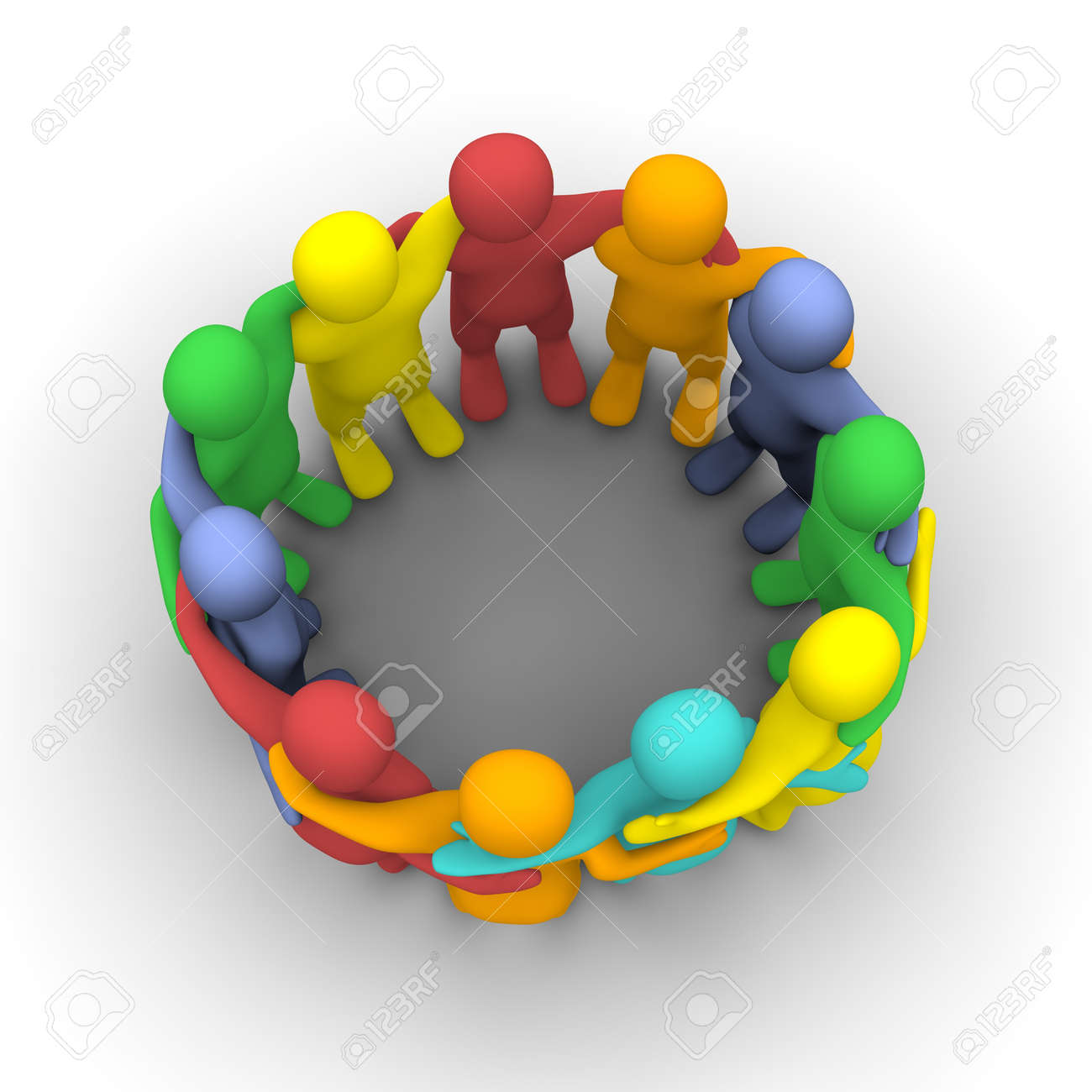 Social group of friends. 3d rendered illustration isolated on white. Stock Illustration - 8351629