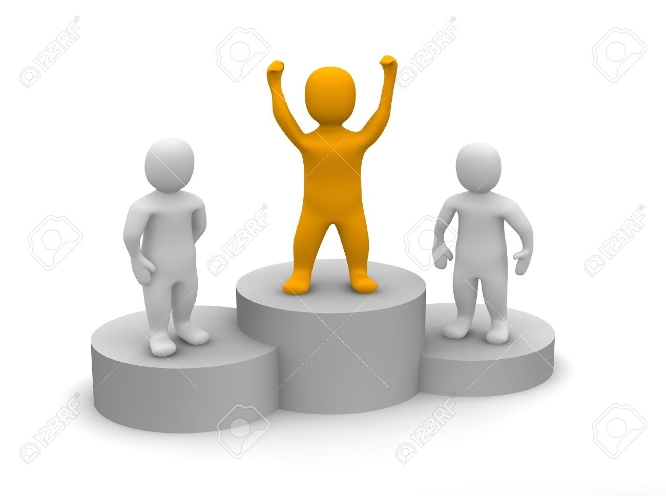 Winner Celebrating On Podium 3d Rendered Illustration Stock Photo Picture And Royalty Free Image Image 9280103