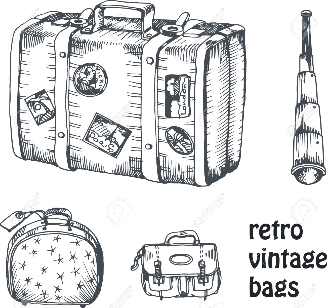 vintage vector hand drawing set of suitcase and bags with spyglass for traveling and voyage - 43851029