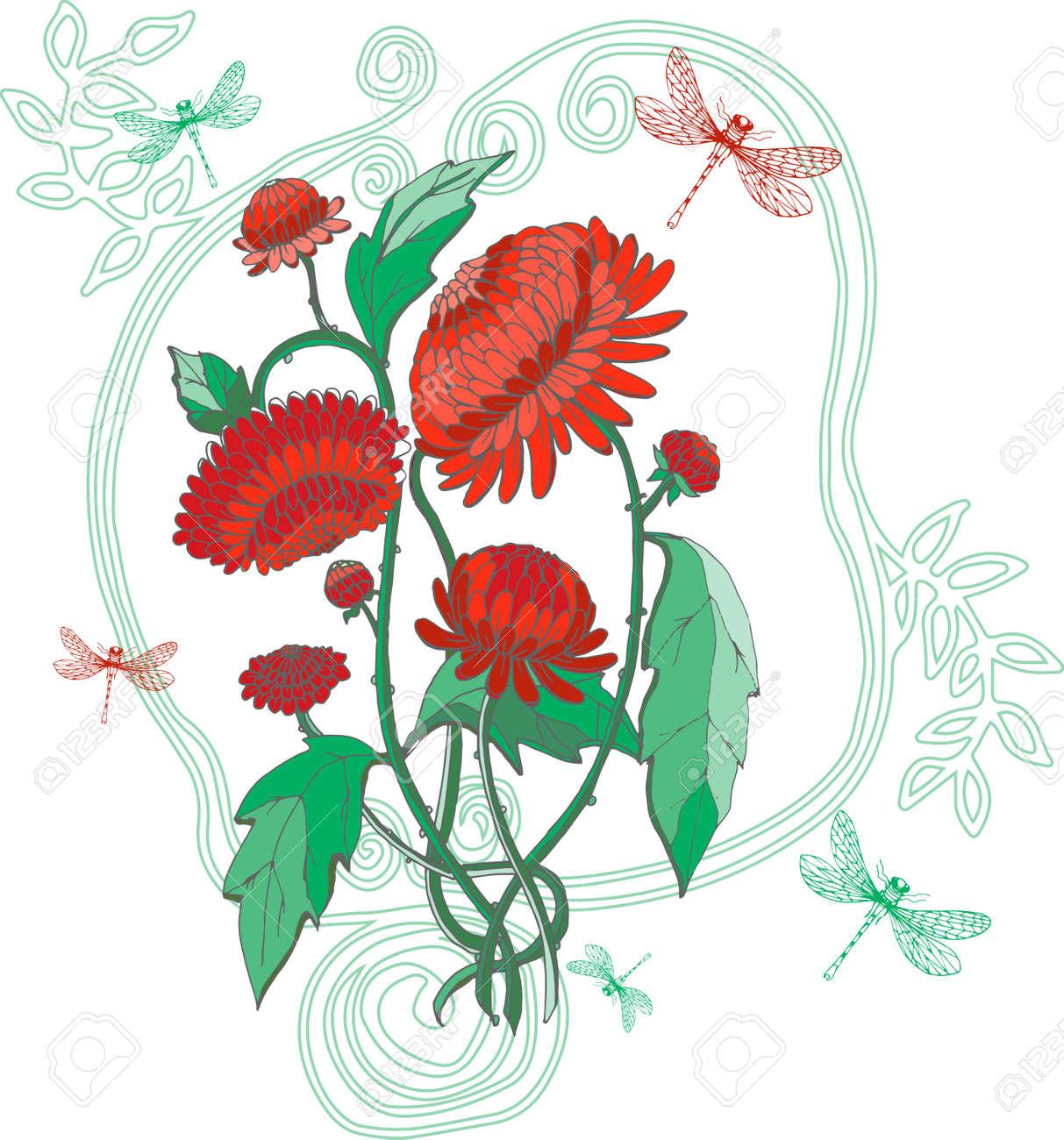 Crisantemos Rojos Con Libélula Y Marco De La Vendimia En Estilo ...