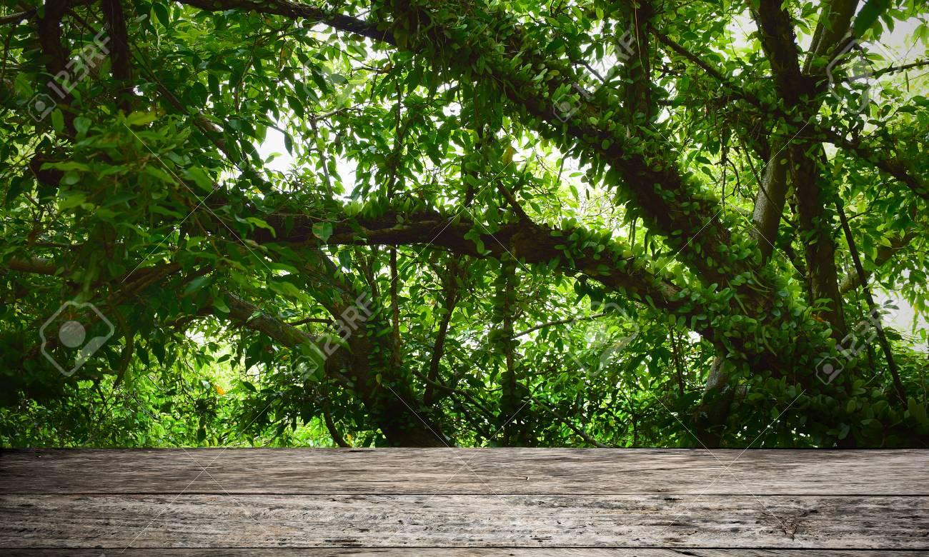 Bureau en bois vide avec fond de nature abstraite. vue extérieure