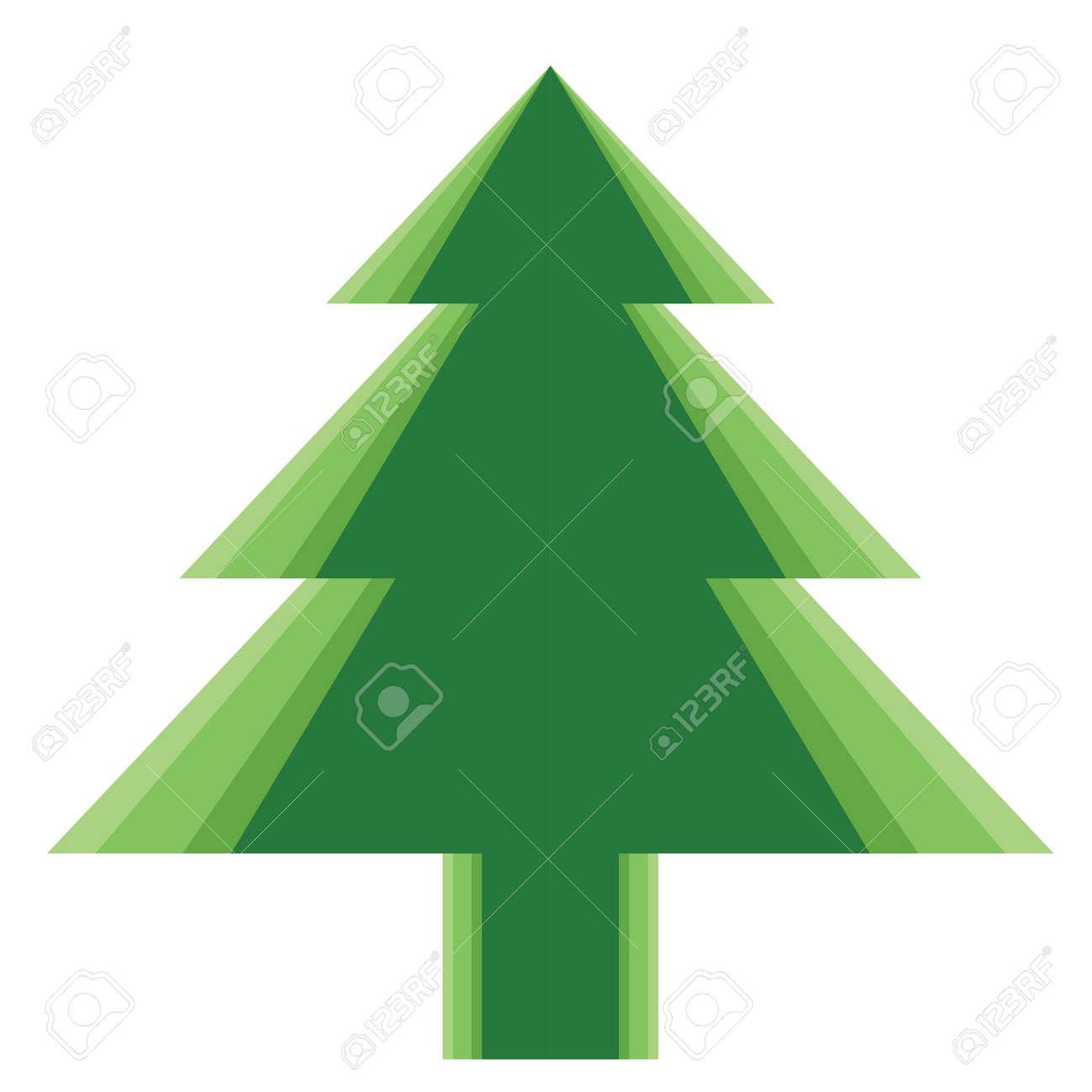 Simple Green Color Christmas Trees For New Year Greeting Card ...
