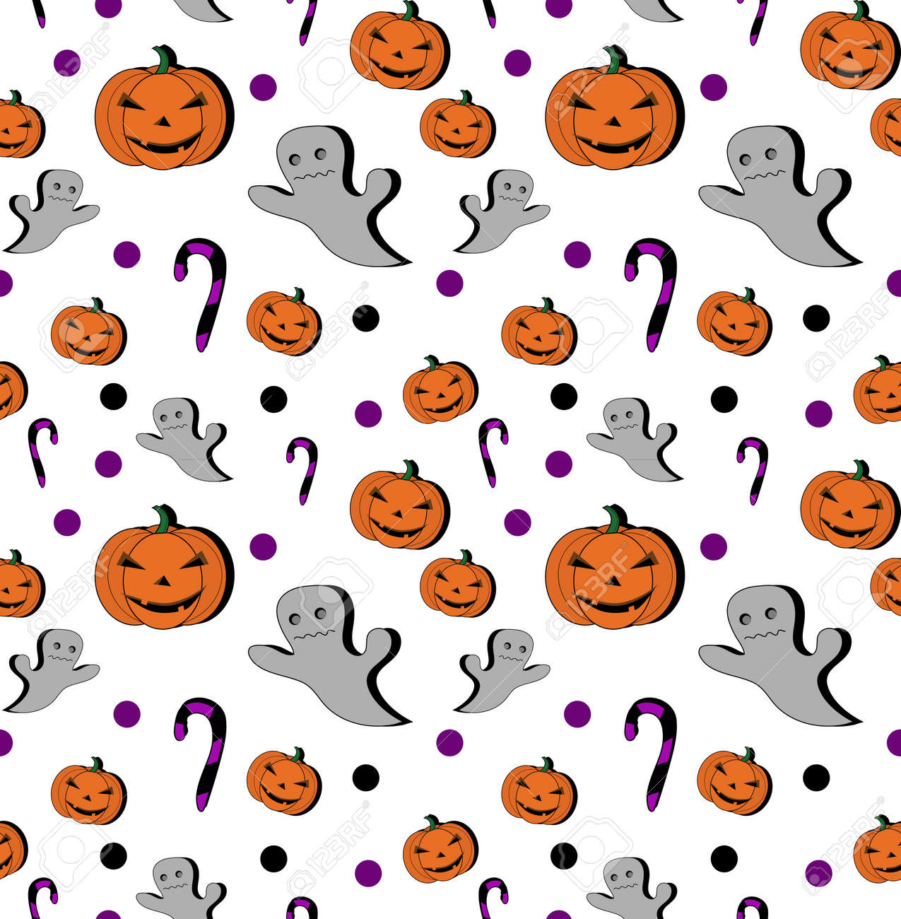 Seamless Pattern Pumpkin Cartoon For Halloween Card Wallpaper Royalty Free Cliparts Vectors And Stock Illustration Image 65042888