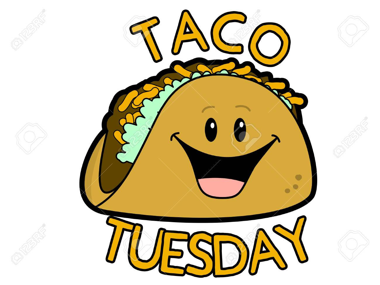 taco tuesday cartoon sign vector illustration royalty free cliparts rh 123rf com happy tuesday funny clipart happy tuesday clipart snoopy