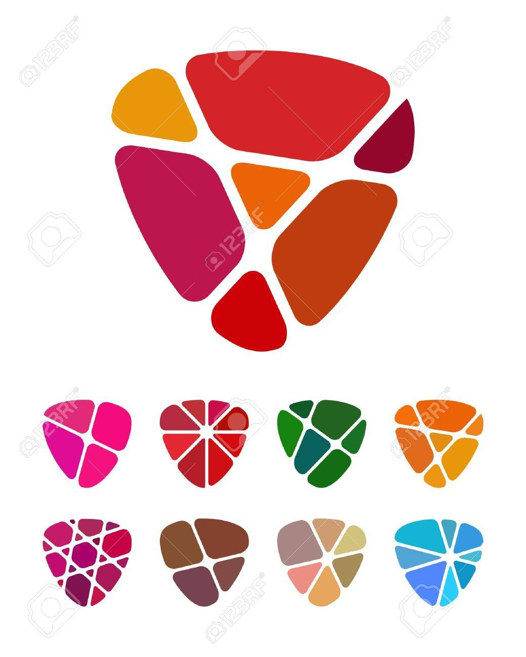 Design shield or heart logo element  Colorful abstract pattern, icon set  You can use in the jewelry shop, leisure club, and other commercial image Stock Vector - 18681909
