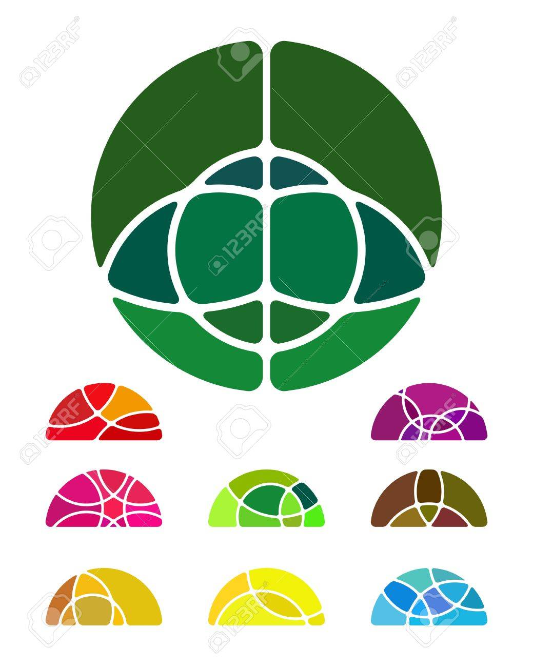 Design abstract round logo element  Crushing semicircular pattern  Colorful semicircular icons set Stock Vector - 18681961