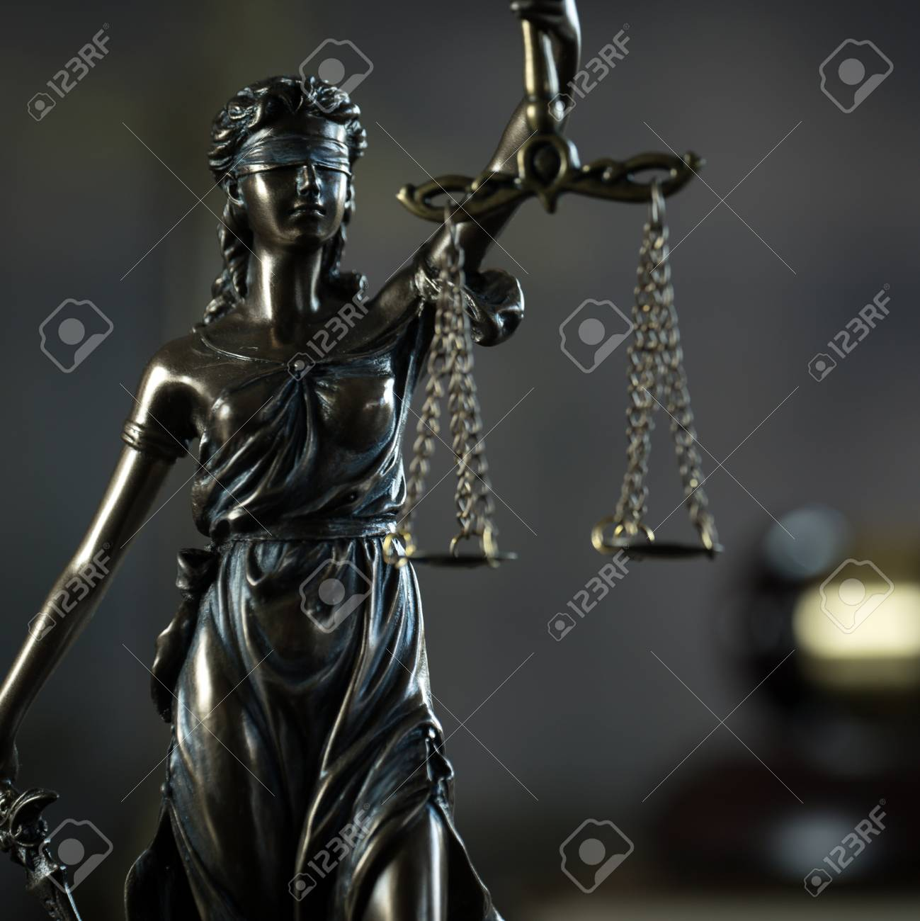 Law and Justice concept. Brown wooden background - 95648406
