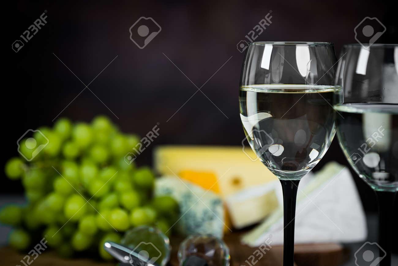 White wine in a glass close-up - 142549813