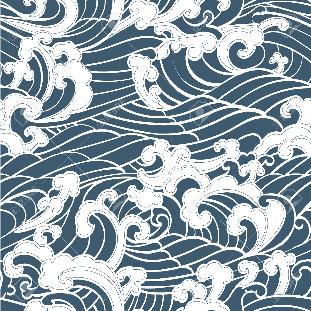 Pattern Seamless Ocean Waves hand drawn Japan style on a blue background - 54644758